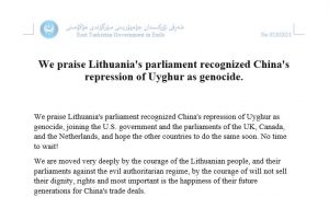 We praise Lithuania's parliament recognized China's repression of Uyghur as genocide. By Erkin Ablimit, President of East Turkestan Government in Exile